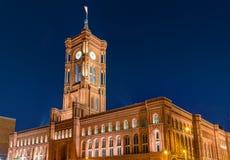Townhall Berlin przy nocą Obraz Stock