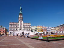 Townhall and Great Market Square, Zamosc, Poland Royalty Free Stock Image