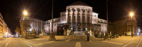 Townhall kassel germany at night high definition panorama Stock Images