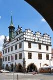 Townhall, Litomerice, Boemia, repubblica Ceca Fotografia Stock