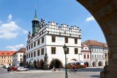 Townhall, Litomerice, Boemia, repubblica Ceca Immagini Stock Libere da Diritti