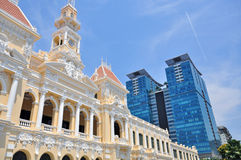 Townhall and skyscrapers of Saigon Royalty Free Stock Image