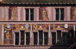 TownHall ställe de la Möte, Mulhouse, Alsace, Frankrike Arkivfoto