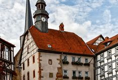 Townhall of Medieval Schlitz Vogelsbergkreis, Hesse, Germany. Townhall Stone construction of the 16th century with late Gothic forms in medieval small town royalty free stock image
