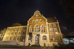 townhall storico Wanne-Eickel nella sera Fotografie Stock Libere da Diritti