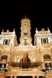 townhall valencia Испании ночи Стоковая Фотография