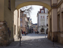 Townhallvierkant, Jelenia Gora, Polen Stock Afbeeldingen