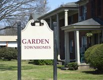Townhomes and Apartments. Garden style townhome complexes offer luxury condo`s, suites and one two and three bedroom homes for people to rents or lease Stock Photo