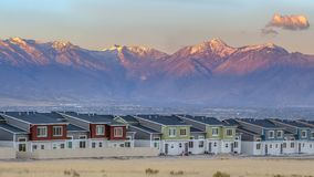 Townhomes in front of field and Timpanogos royalty free stock photos