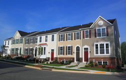 Townhouse. American Townhouse on blue sky Stock Photo