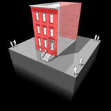"Townhouse with additional wall insulation. Diagram of a typical american townhouse aka ""brownstone"" with additional wall insulation - to improve stock illustration"