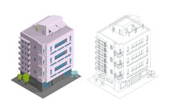 Townhouse building. Terraced housing modern town house multiple floors. City residence three-storey architecture. Contours, drawing isometry 3d. Vector vector illustration