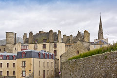 Townhouse and defensive walls in Saint-Malo. Stock Photography