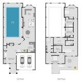 Townhouse  floor plan Stock Photo
