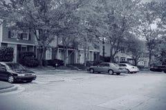 Townhouse Neighborhood. Black and white image of a suburban neighborhood of townhouses Royalty Free Stock Photos