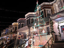 Townhouse Row During Christmas Royalty Free Stock Photography