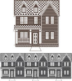 TownHouse row of townhomes vector Stock Images
