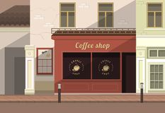 Townhouse shop. A small coffee shop on the streets of the old town Royalty Free Stock Images