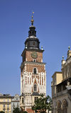 Townhouse tower on Main square in Krakow. Poland.  Royalty Free Stock Images