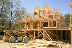 Townhouse Under Construction. This townhouse is the beginning of a new delopment at Wasaga Beach, Ontario, Canada. The development is called Baywood Homes. When Royalty Free Stock Photo