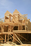 Townhouse under Construction. This photograph shows the framing of a new townhouse under construction at Wasaga Beach, Ontario, Canada. It shows the framing for Stock Photo
