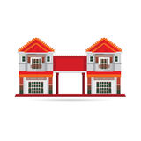 Townhouse vector illustration collection. Residential  Stock Images