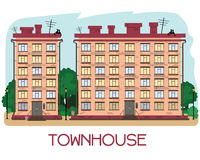 Townhouse on a white background. With balconies and boxes of flowers. City style royalty free illustration