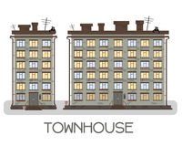 Townhouse on a white background. With balconies and boxes of flowers. City style stock illustration