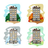 Townhouse on a white background. With balconies and boxes of flowers. Four seasons stock illustration