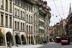 Townhouses με τα arcades του στη Βέρνη Στοκ φωτογραφία με δικαίωμα ελεύθερης χρήσης