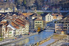 Townhouses by the Aare river in Bern Royalty Free Stock Photography