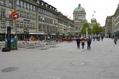 Townhouses along the Barenplatz in Bern Royalty Free Stock Photo