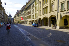 Townhouses along the most visited street. BERN, SWITZERLAND - SEPTEMBER 13, 2015: Townhouses along the most visited street in the city with a population of Royalty Free Stock Photos