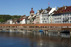 Townhouses down by the river Reuss, Lucerne Stock Image