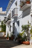Townhouses, Frigiliana, Andalusia, Spain. Typical village street in a whitewashed village, Frigiliana, Malaga Province, Andalusia, Spain, Western Europe Royalty Free Stock Photos