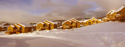Townhouses after heavy snowstorm Royalty Free Stock Photo