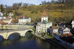Townhouses and The Lower Gate Bridge in Bern Royalty Free Stock Image