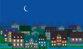 Townhouses, night. Stock Image