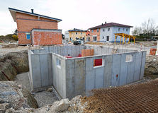 Townhouses of a residential building. Basement for Stock Images