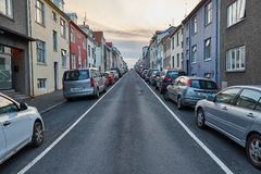 Townhouses in Reykjavik, Iceland stock photos