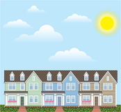 Townhouses Row with Sunny weather Vector Stock Image