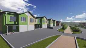 Townhouses in the suburbs. vector illustration