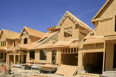 Townhouses Under Construction. This shows townhouses under construction at Wasaga Beach, Ontario, Canada. The framing and siding is almost complete Royalty Free Stock Photos