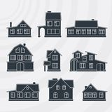 Townhouses vector icon set. Royalty Free Stock Photography