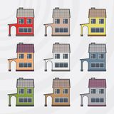 Townhouses vector icon set. Royalty Free Stock Photos