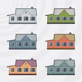 Townhouses vector icon set. Stock Photo