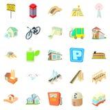 Townish icons set, cartoon style. Townish icons set. Cartoon set of 25 townish vector icons for web isolated on white background Stock Photography