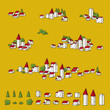 Towns for maps (vector). Map towns (vector). Town icons for map designs stock illustration