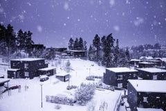Townscape зимы в снежности Стоковое фото RF