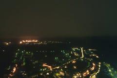 Townscape aéreo na noite fotografia de stock